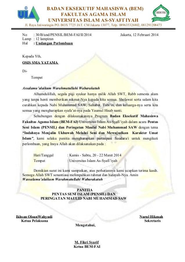 Undangan lomba Pentas Seni Islam BEM FAI Universitas Islam As-Syafi ...