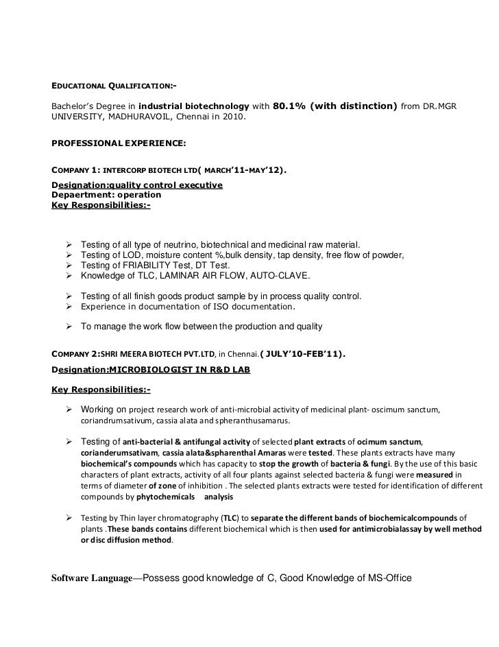 Quality Control Manager Resume Sample  BesikEightyCo