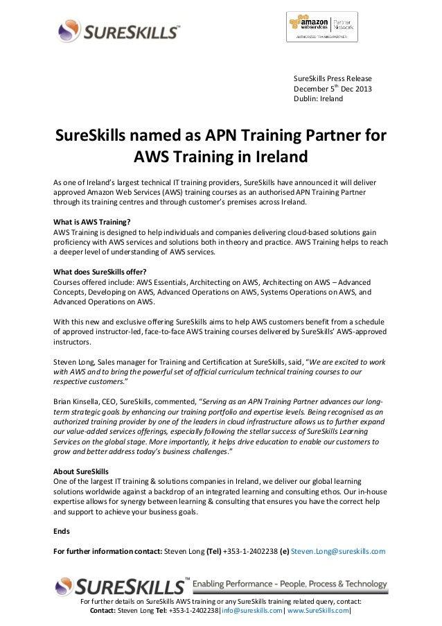 SureSkills Press Release December 5th Dec 2013 Dublin: Ireland  SureSkills named as APN Training Partner for AWS Training ...