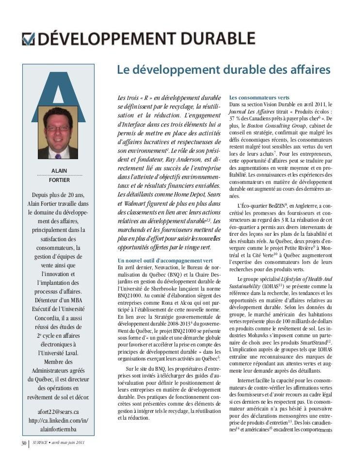 Magazine Surface - Le développement durable des affaires - Alain Fortier