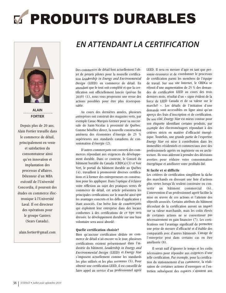 Magazine Surface - En attendant la certification - Alain Fortier