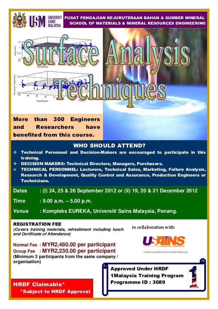 Surface Analysis Techniques Course Sept&Dec 2012