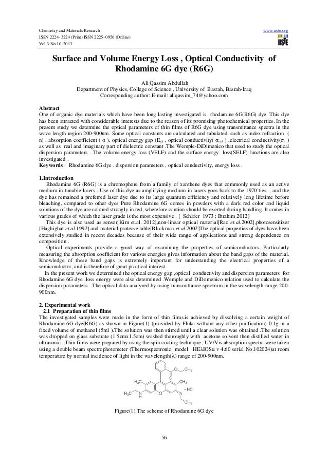 Surface and volume energy loss , optical conductivity  of rhodamine 6 g dye (r6g)