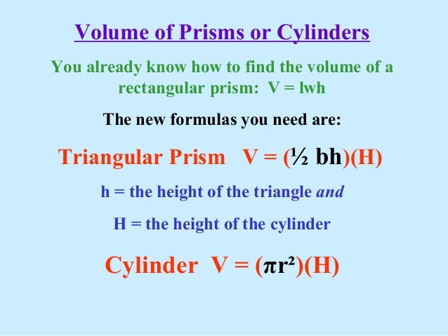 Prism Volume Volume of Prisms or Cylinders