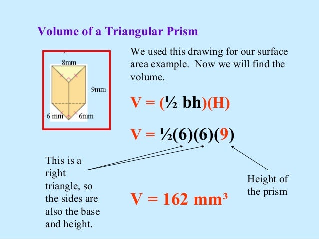 Surface area of triangular prism example