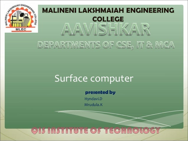Surface computing by raviteja
