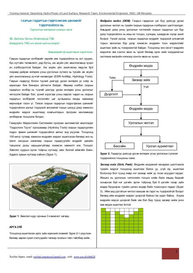 Describing Hydro-Physic of Land Surface ГАЗРЫН ГАДAРГЫН ГИДРО-ФИЗИК ШИНЖИЙГ ТОДОРХОЙЛОХ НЬ