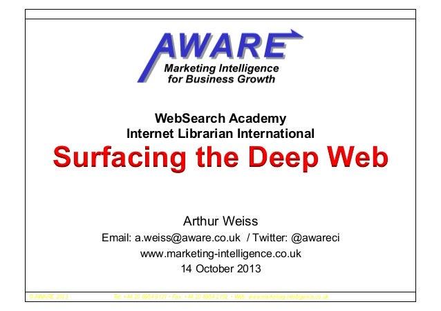 WebSearch Academy Internet Librarian International  Surfacing the Deep Web Arthur Weiss Email: a.weiss@aware.co.uk / Twitt...