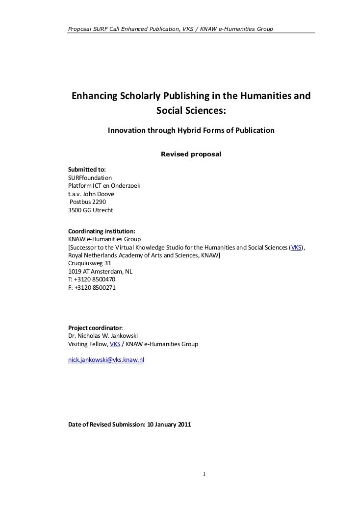 Proposal SURF Call Enhanced Publication, VKS / KNAW e-Humanities Group Enhancing Scholarly Publishing in the Humanities an...