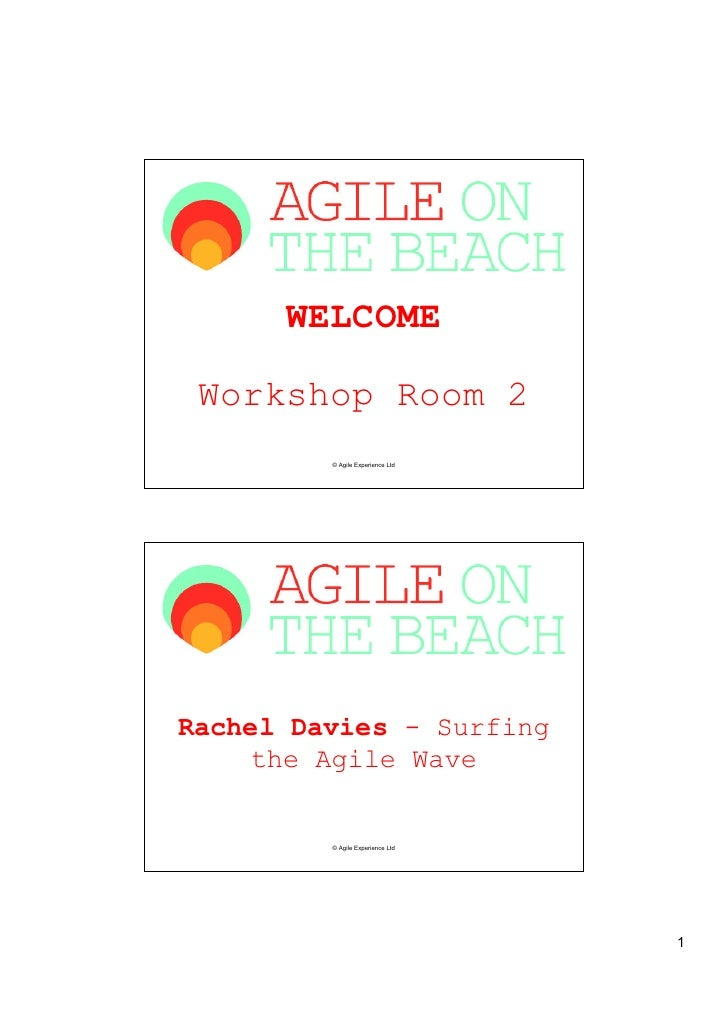 WELCOME Workshop Room 2         © Agile Experience LtdRachel Davies - Surfing    the Agile Wave         © Agile Experience...