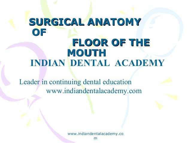 Surgical anatomy     of                     floor of mouth /certified fixed orthodontic courses by Indian dental academy