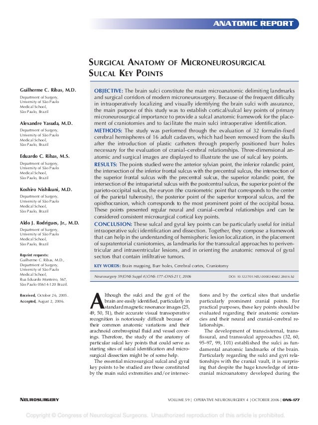 ANATOMIC REPORT                               SURGICAL ANATOMY                        OF     MICRONEUROSURGICAL           ...