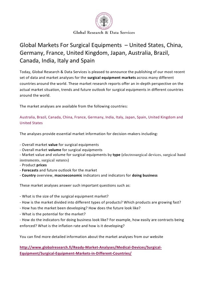 Global Markets For Surgical Equipments – United States, China,Germany, France, United Kingdom, Japan, Australia, Brazil,Ca...