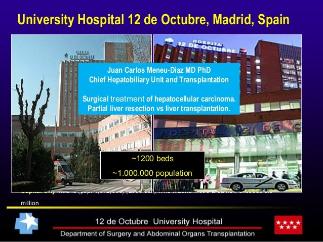 University Hospital 12 de Octubre, Madrid, Spain • Capital City Madrid (pop. 4,512,500) (2006 est.) .The Madrid metro area...