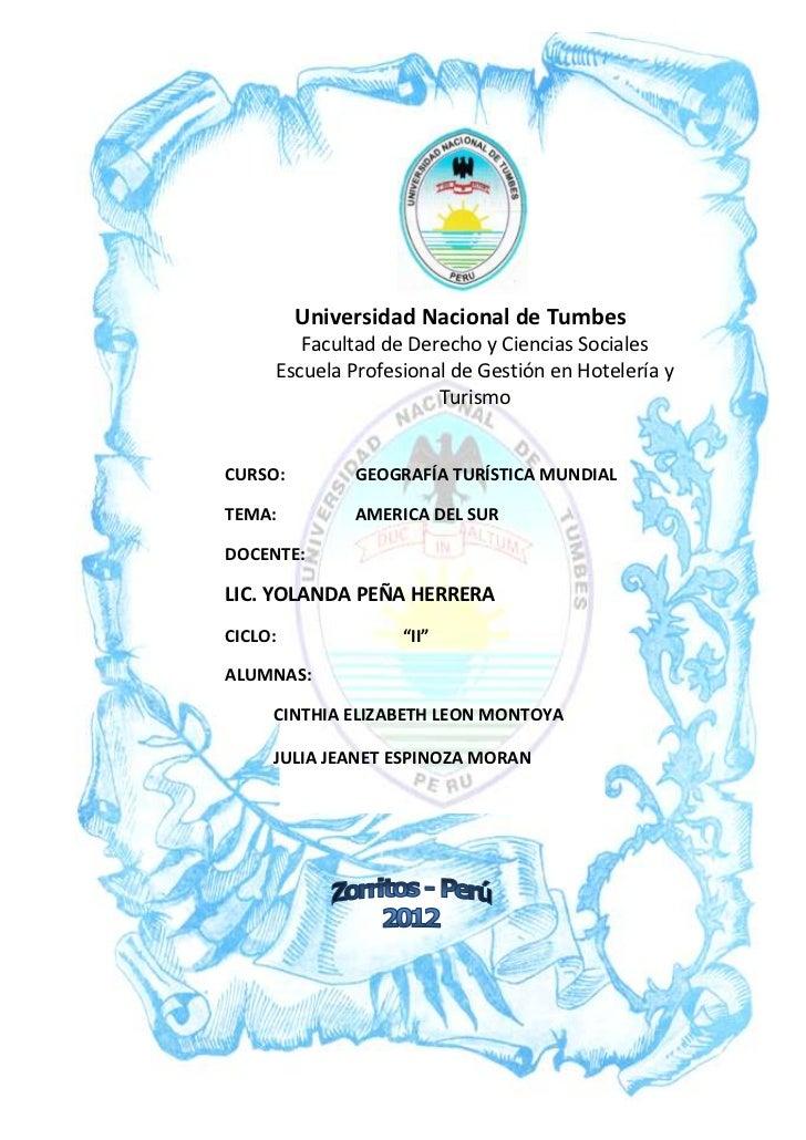 Universidad Nacional de Tumbes        Facultad de Derecho y Ciencias Sociales     Escuela Profesional de Gestión en Hotele...