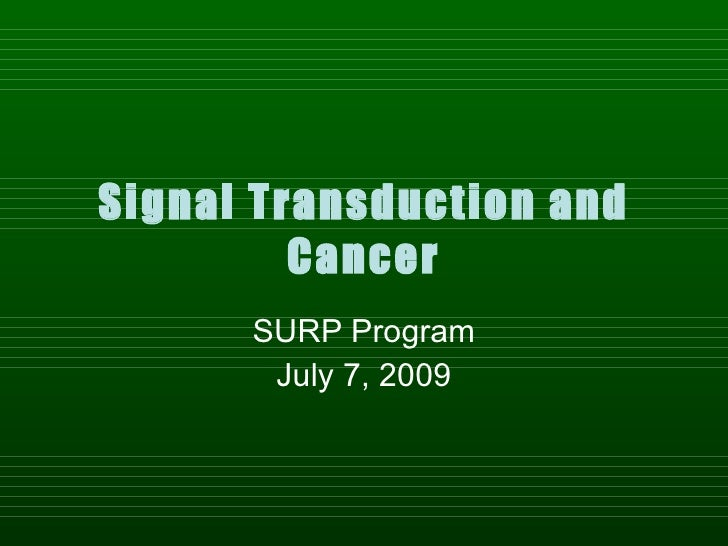 Signal Transduction and          Cancer       SURP Program        July 7, 2009