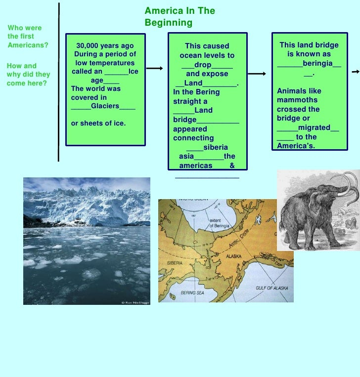 America In The Beginning<br />Who were the first Americans?<br />This land bridge is known as ______beringia____.<br />Ani...