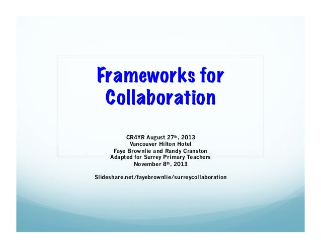 Frameworks for Collaboration CR4YR August 27th, 2013 Vancouver Hilton Hotel Faye Brownlie and Randy Cranston Adapted for S...