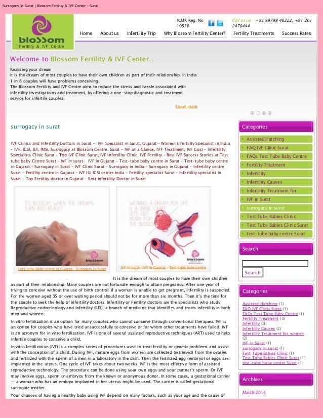 Surrogacy In Surat | Blossom Fertility & IVF Center - Surat ICMR Reg. No 10556 Call us on : +91 99799 46222, +91 261 24704...