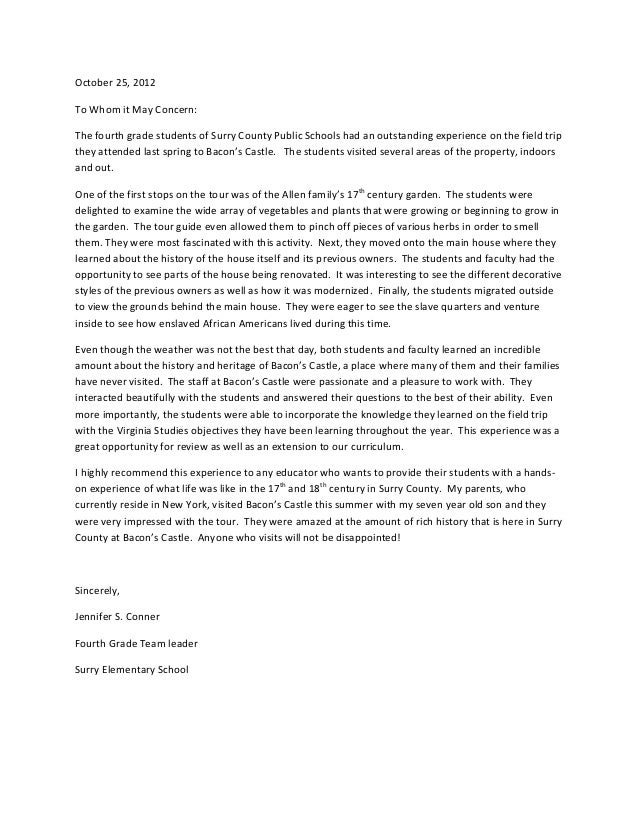 Surry Elementary School Letter of Recommendation for Bacon's Castle