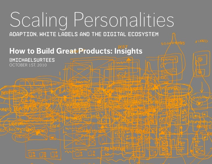 Scaling Personalities ADAPTION, WHITE LABELS AND tHE DIGITAL ECOSYSTEM   How to Build Great Products: Insights @michaelsur...