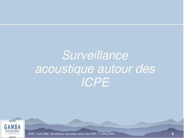 CIDB - 4 juin 2008 - Surveillance acoustique autour des ICPE - F. KRAJCARZ  1  Surveillance  acoustique autour des  ICPE