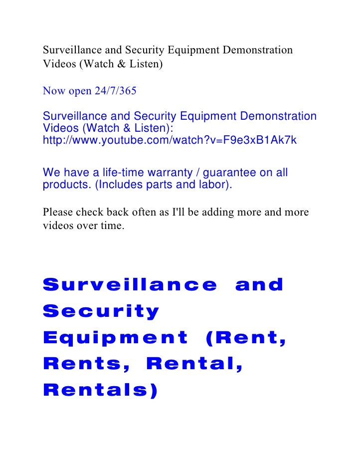 Surveillance and Security Equipment DemonstrationVideos (Watch & Listen)Now open 24/7/365Surveillance and Security Equipme...