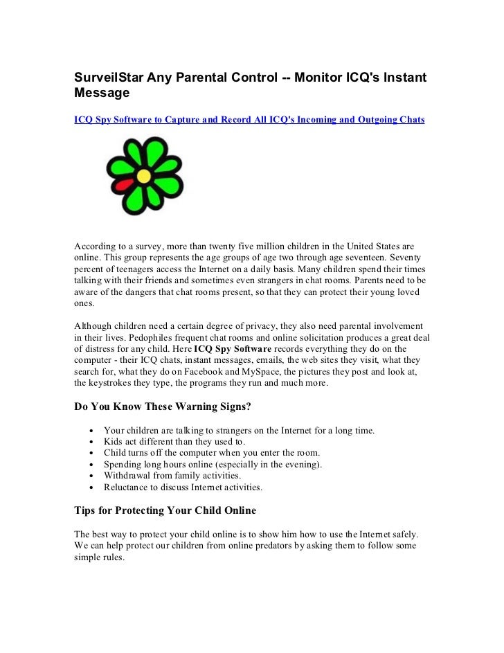 Surveil star any parental control  - monitor icq's instant message