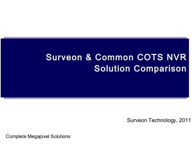 Surveon & Common COTS NVR Solution Comparison Surveon Technology, 2011 Complete Megapixel Solutions