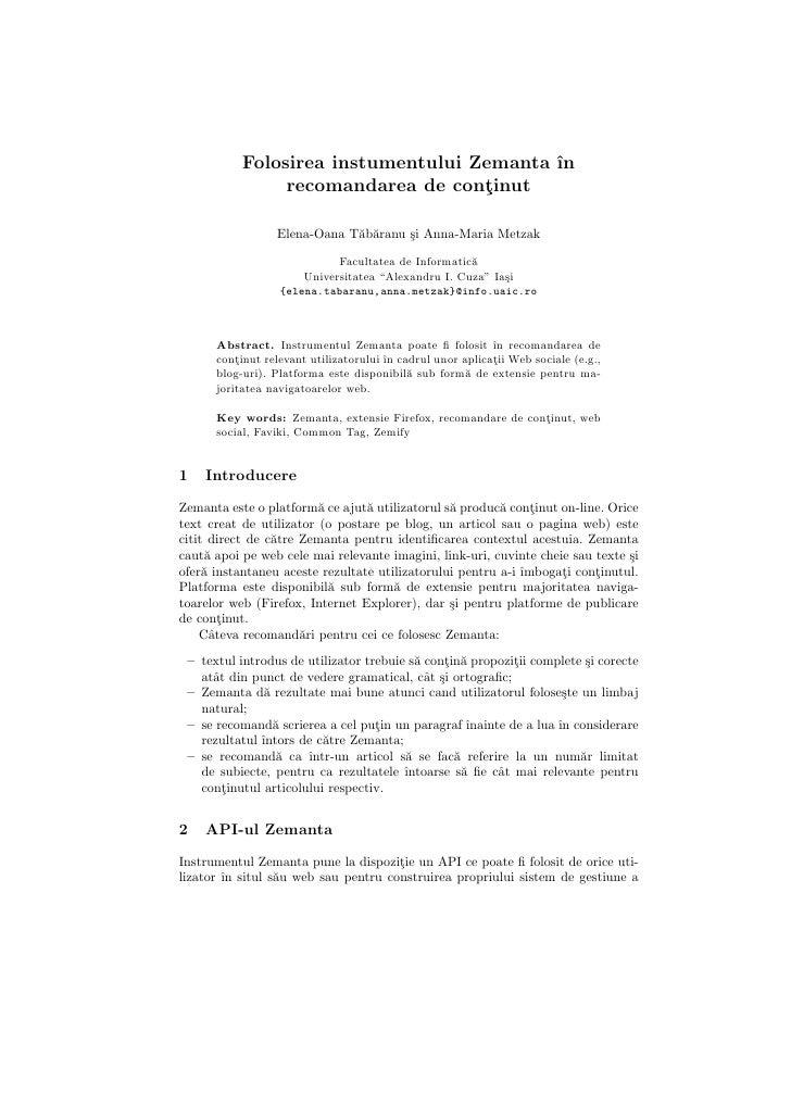 Folosirea instumentului Zemanta in recomandarea de continut