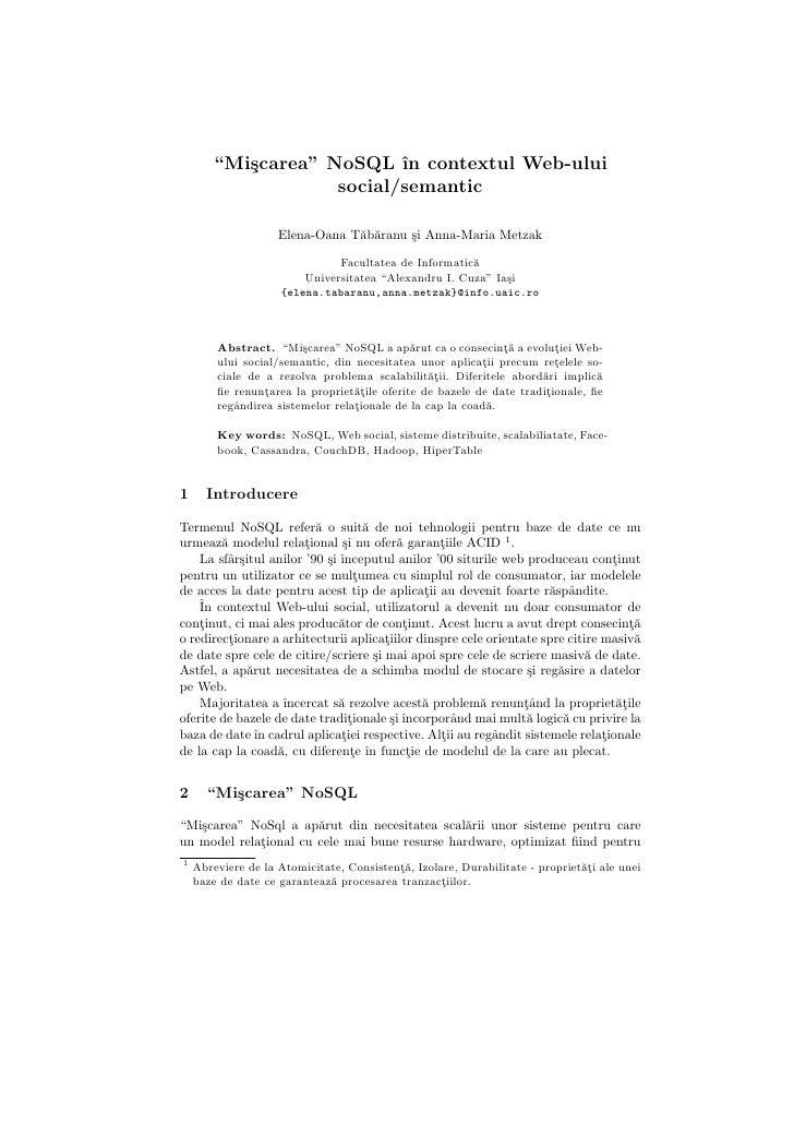 """Miscarea """"NoSQL"""" in contextul Web-ului social/semantic"""