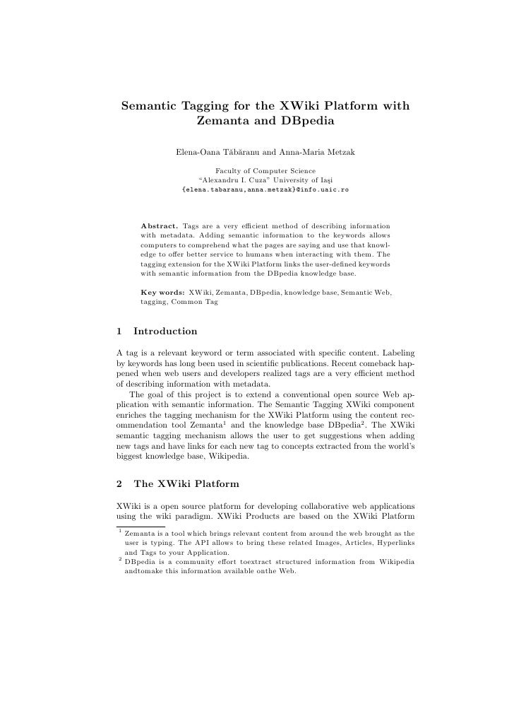 Semantic Tagging for the XWiki Platform with Zemanta and DBpedia