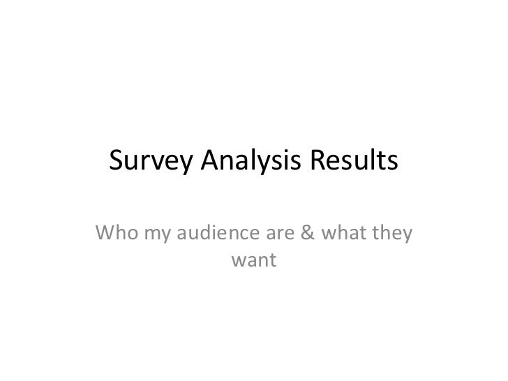 Survey Analysis ResultsWho my audience are & what they            want