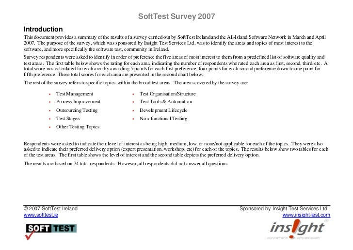 SoftTest Ireland Survey 2007