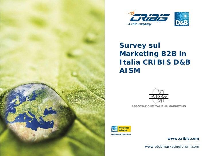 Survey sulMarketing B2B inItalia CRIBIS D&BAISM                www.cribis.com      www.btobmarketingforum.com