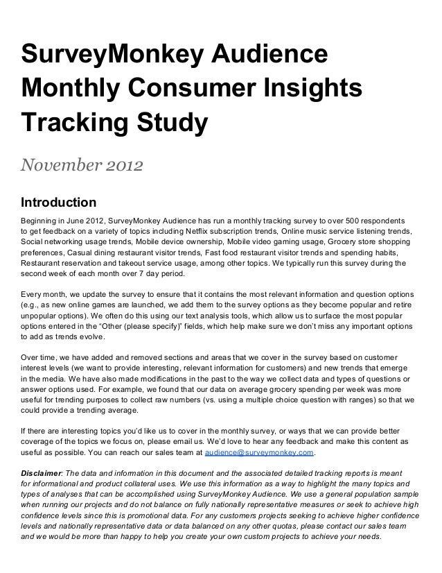 SurveyMonkey Audience Monthly Consumer Insights Tracking Study -  November 2012