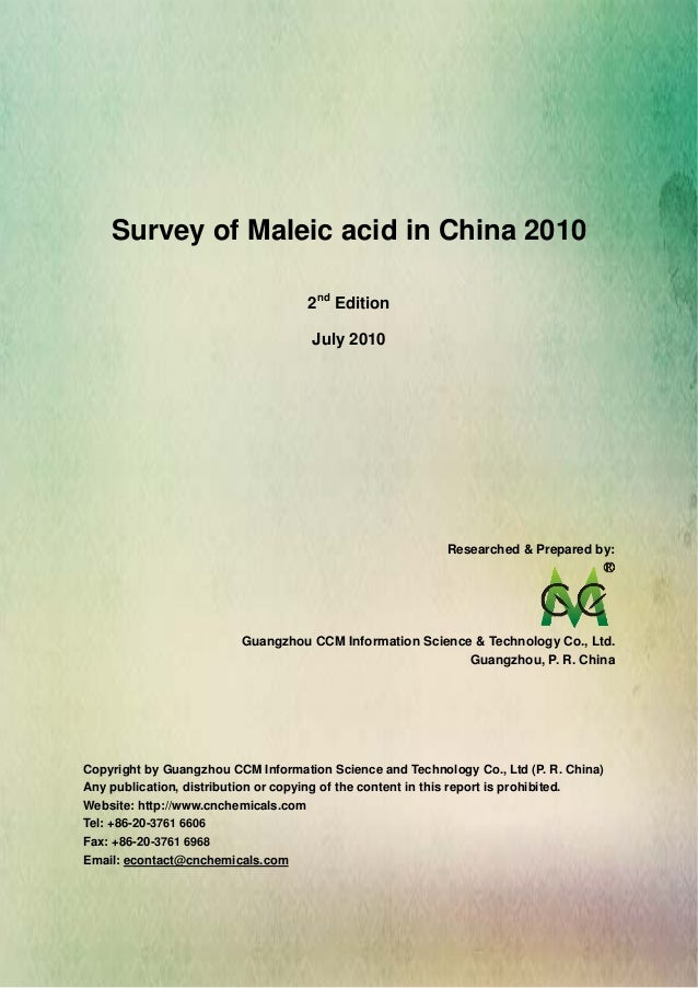 Survey of Maleic Acid in china 2010