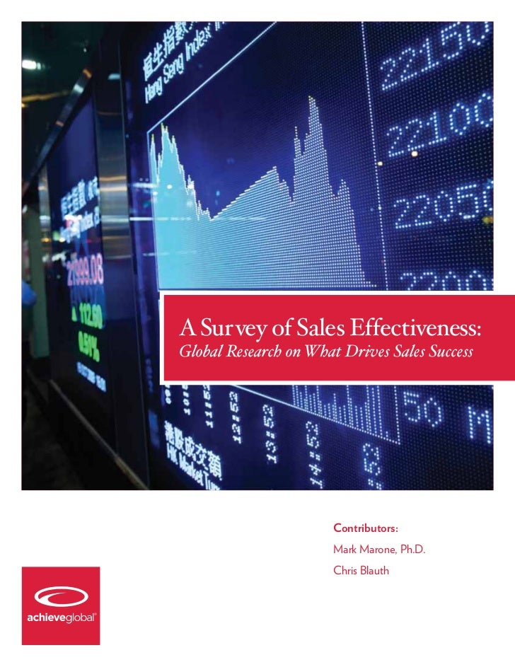 A Survey of Sales Effectiveness: Global Research on What Drives Sales Success
