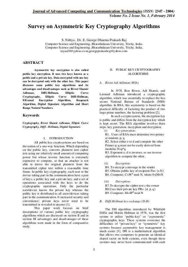 Journal of Advanced Computing and Communication Technologies (ISSN: 2347 - 2804) Volume No. 2 Issue No. 1, February 2014  ...