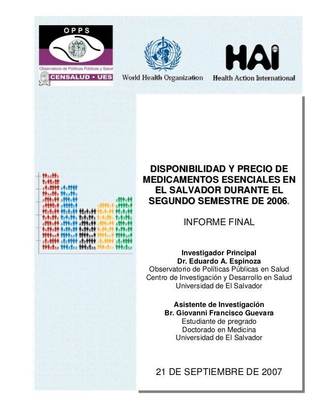 Disponibilidad y Precio de los medicamentos en El Salvador 2006