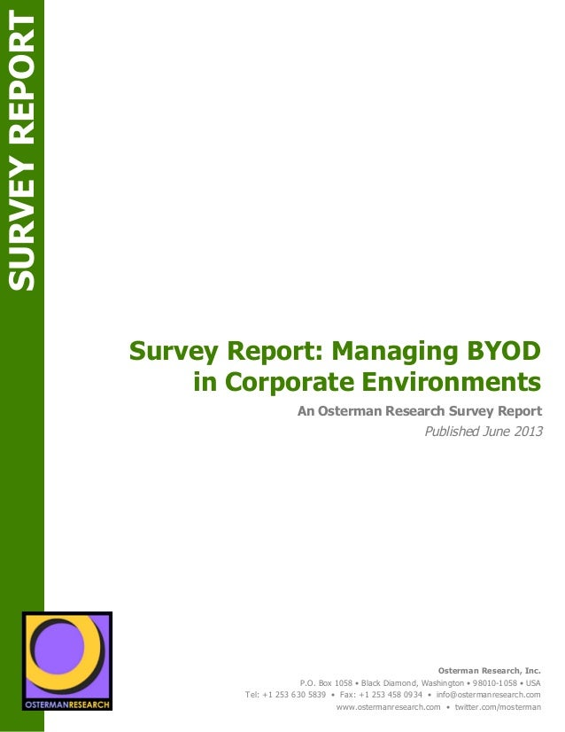 Survey Report: Managing BYOD in Corporate Environments