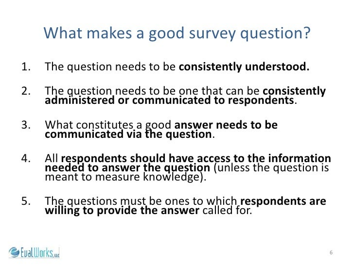 survey question and respondents