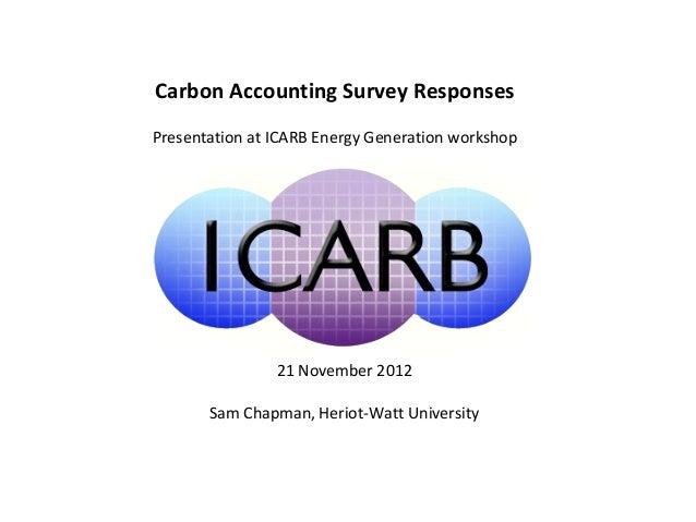 Carbon Accounting Survey ResponsesPresentation at ICARB Energy Generation workshop                21 November 2012       S...