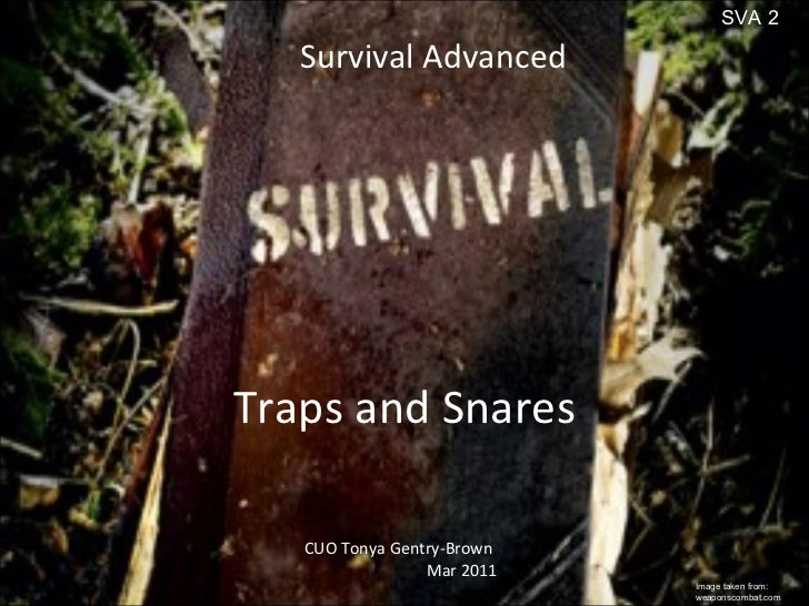 Traps and Snares Survival Advanced CUO Tonya Gentry-Brown Mar 2011 Image taken from: weaponscombat.com SVA 2