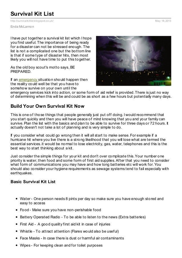 Survival Kit List Pdf Survival Kit List Pdf 2013