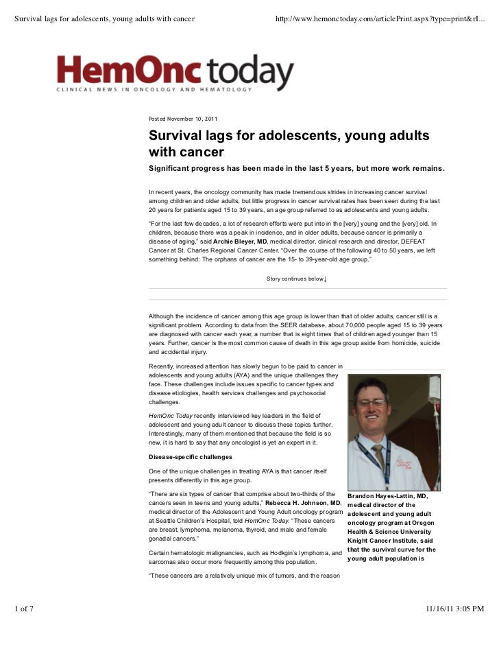 Survival lags for adolescents, young adults with cancer                                 http://www.hemonctoday.com/article...