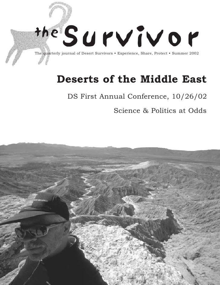 the              SurvivorThe quarterly journal of Desert Survivors • Experience, Share, Protect • Summer 2002           De...