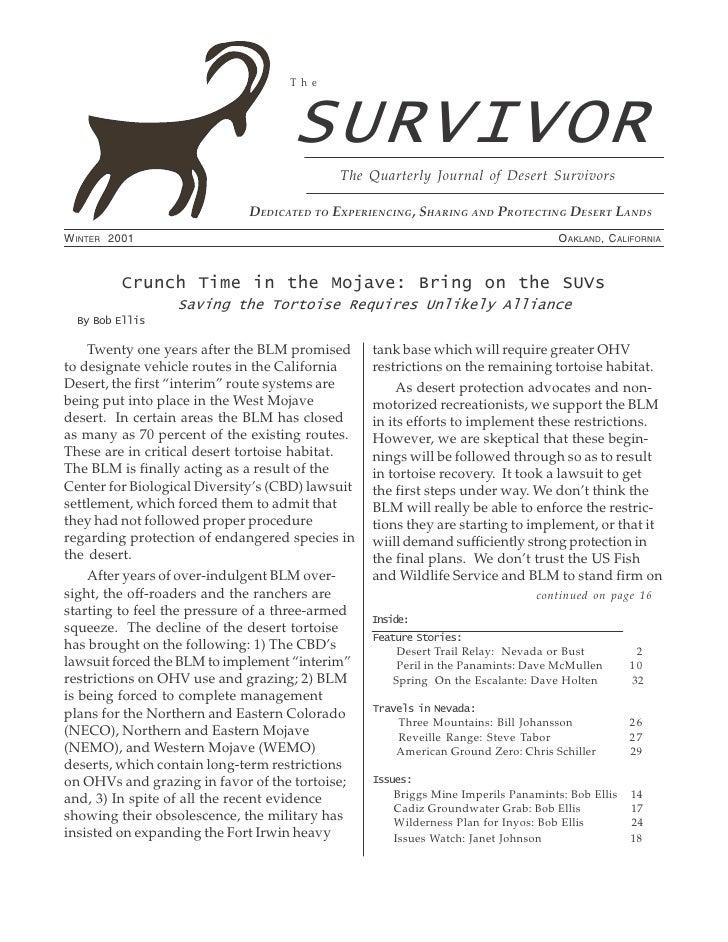Winter 2001 The Survivior Newsletter ~ Desert Survivors