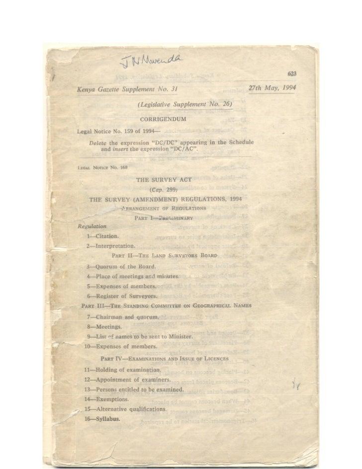 Kenya Survey regulations of 1994
