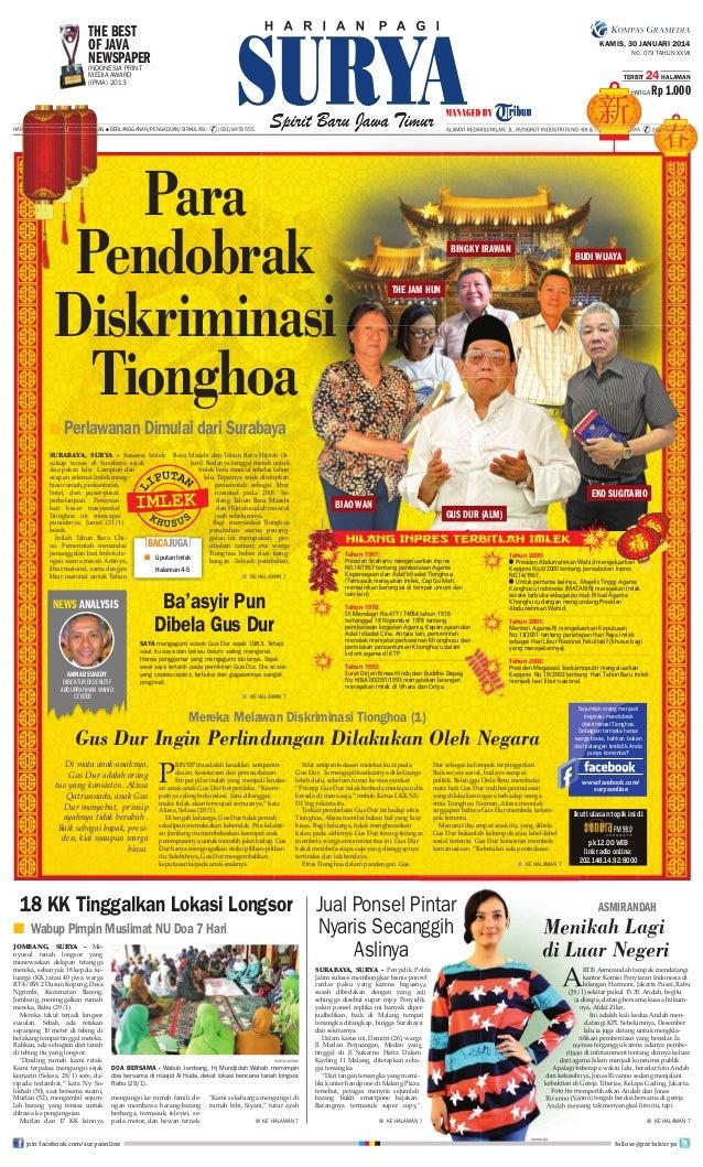 THE BEST OF JAVA NEWSPAPER INDONESIA PRINT  KAMIS, 30 JANUARI 2014 NO. 079 TAHUN XXVII  MEDIA AWARD (IPMA) 2013  TERBIT  2...